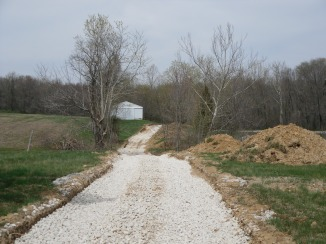 The beginning of driveway
