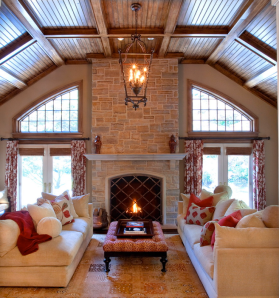 Family Room with Fireplace along exterior wall