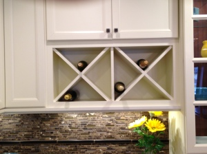Bill has always wanted someplace to store wine. Maybe this could go in the dining area cabinetry.