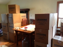 Boxes lined up in dining room