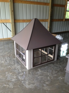 Cupola with windows and topper. Colors coordinate with the barn - clay and bronze