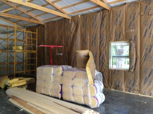 One wall with insulation up