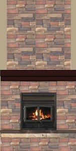 Enerzone fireplace with Centurion Suede Stack Stone with Mahogany mantle