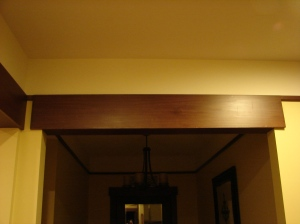 Drop down decorative trim to divide spaces