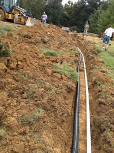 Crawl space drainage pipes