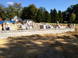 The end of day one of block laying