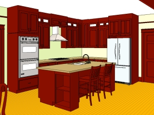 Mahogany color cabinets