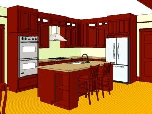 Mahogany color cabinets