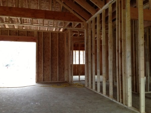 Looking from the family room to the hall closet on the right of the entryway
