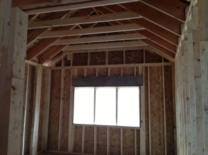 Master Bedroom vaulted ceiling with flat center