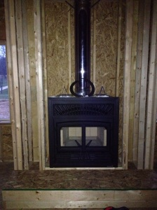 Fireplace inside the frame