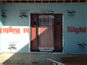 Exterior view of the front door (has plastic on the center section)