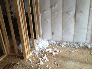 Netting with fiberglass blown in on all exterior walls and under the attic floor