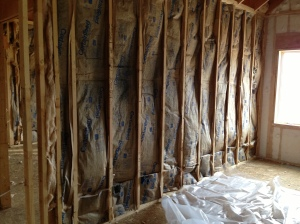 Sound barrier insulation between the family room and master bedroom