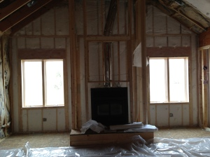 Fiberglass insulation all around that fireplace and exterior wall