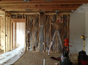 Sound barrier between the kitchen and laundry room walls