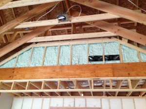 Spray foam up in the vaulted area of the family room