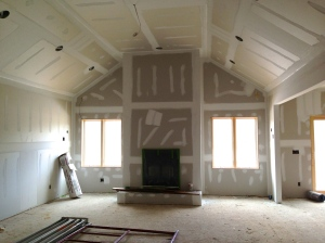 Family room taped and mudded