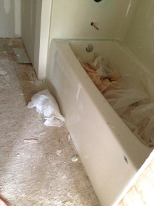 The tub in the hall bathroom has mud all over it. Yuck!