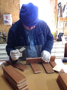 Bill putting together one of the upper wall cabinet doors.