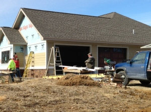 Starting on the front of the house with siding