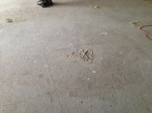 Piles of dust and excess drywall mud