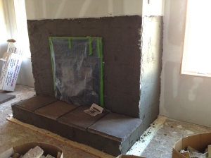 Fireplace all ready for the stone