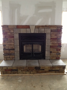 Our stone fireplace (minus the mantle)
