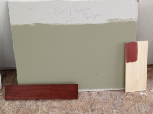 """dry sage"" for Family Room along with cabinet sample (on bottom) and trim stain color (on right)"