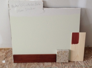 """moon shadow"" for master bedroom and bath. In addition to cabinet sample and trim, I added granite for bath."