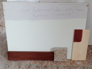 """natural elements"" for spare bedrooms, hall bath, and laundry. In addition to cabinet sample and trim, I added granite for hall bath."