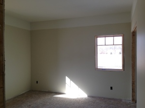 """One of the front bedrooms in """"natural elements"""" and icicle for above headband and ceiling"""