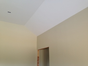 """Master bedroom in """"moon shadow."""" We are not doing a headband in the master bedroom as it has a vaulted ceiling."""