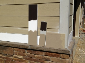 Clay and bronze on siding and trim samples