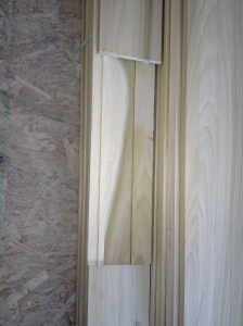 All our trim (baseboards, window and door trim, beams, and interior doors) is in poplar.