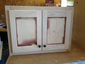 Cabinet doors with stain