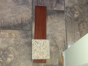 Matching up the tile floor with vanity sample, granite and the wall color.