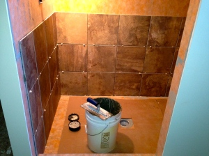 Shower tiling started