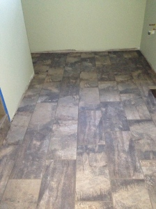 Master bath floor grouted