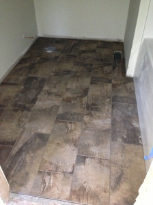 Hall bath floor grouted
