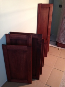 Cabinet doors stained