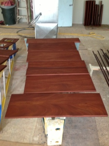 Mahogany drawer fronts stained