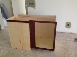 Blind corner cabinet stained (the stained part is the only part that will show)