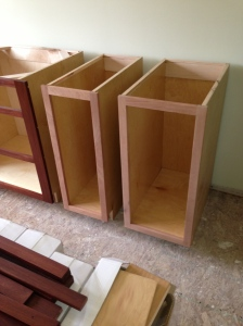 My KitchenAid mixer lift cabinet (on the right) and small cabinet for cutting boards (on the left)