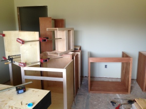 Stack of cabinets assembled. I think there are 12 just in this area.
