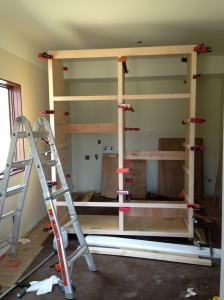 The big pantry cabinet all clamped up.