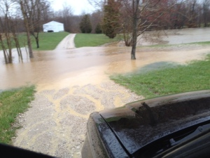 Flooded driveway