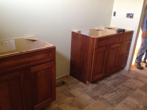 Master bathroom vanities going in