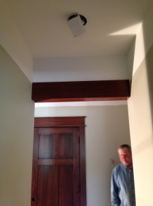 Drop down beam in master bedroom hallway