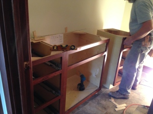 Hall bath cabinets going in